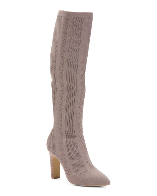 Stretch Knit Tall Shaft Pointy Toe Boots