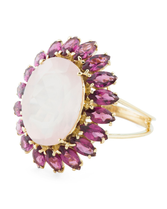 Made In India 14k Gold Rose Quartz And Pink Garnet Oval Ring