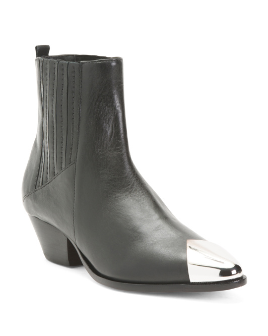 Made In Brazil Leather Pointy Toe Boots With Metallic Toe