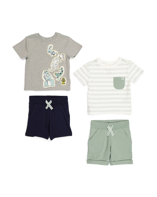 Infant Boys 4pc Dog Stripe Tee & Short Set