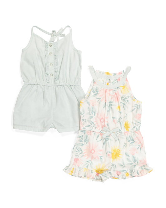 Infant Girls 2pk Romper Set