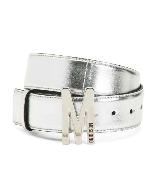 Made In Italy Metallic Leather Belt With Signature Buckle