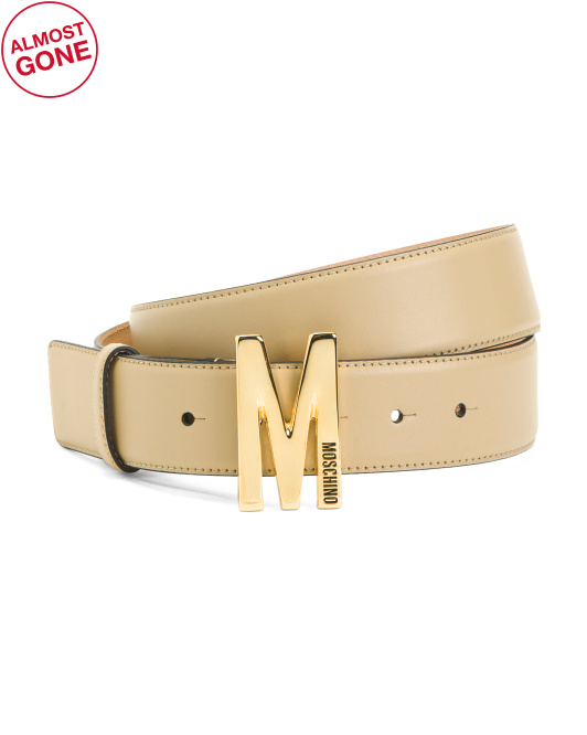 Made In Italy Wide Leather Belt With Signature Buckle
