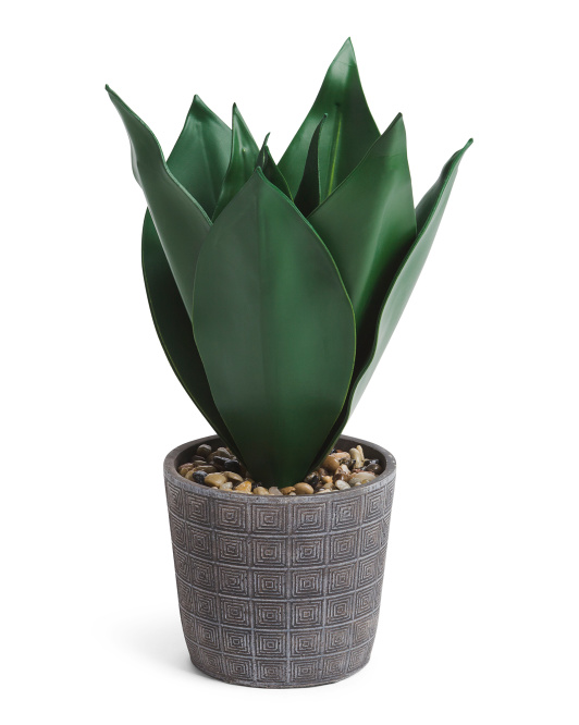 18in Faux Agave In Cement Pot