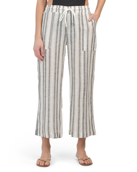 Striped Linen Blend Drawstring Cover-up Pants