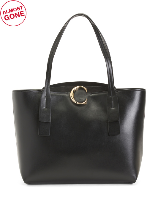 Made In Italy Medium Zipped Leather Tote