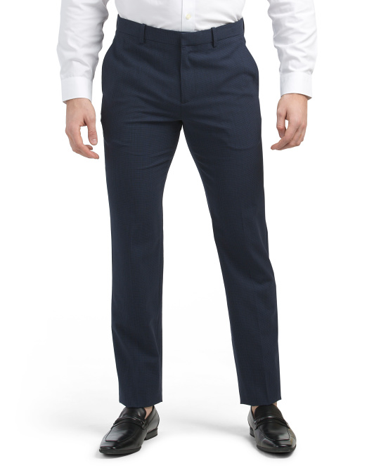 Wool Broken Check Mayer Slim Fit Dress Pants