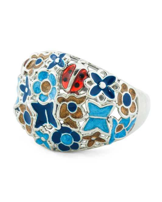 Made In Italy Sterling Silver Cathedral Enamel Ring
