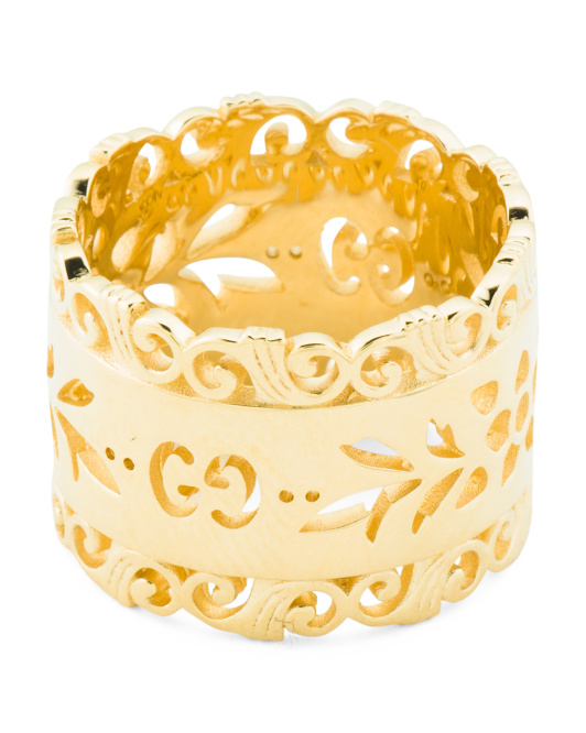 Made In Italy 18k Gold Icon Blooms Wide Band Ring