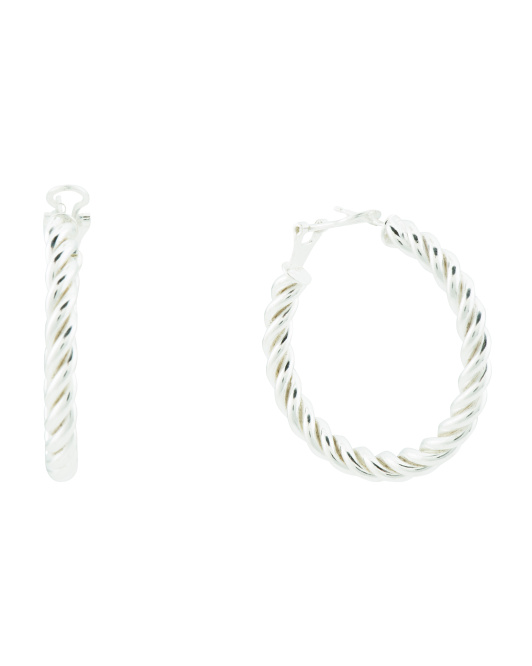 Made In Italy Sterling Silver Twisted Omega Hoop Earrings