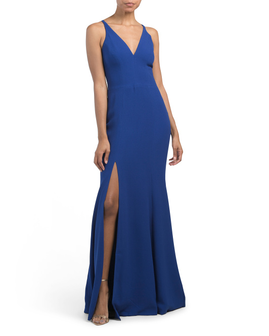 Iris Plunging Mermaid Crepe Gown