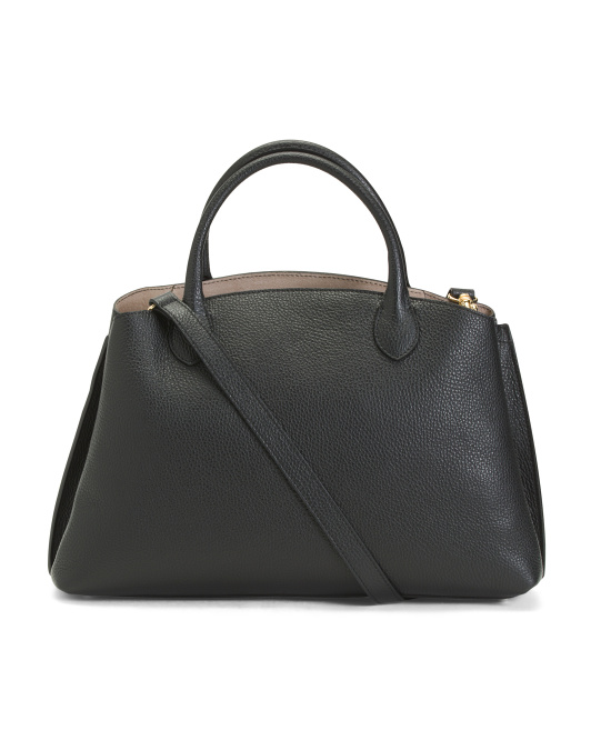 Made In Italy Leather Multi Entry Satchel