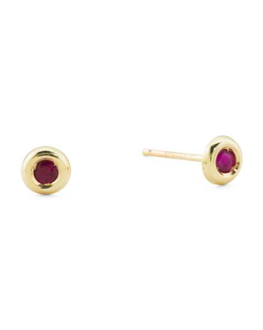 Made In Spain 14k Gold 2mm Ruby Stud Earrings