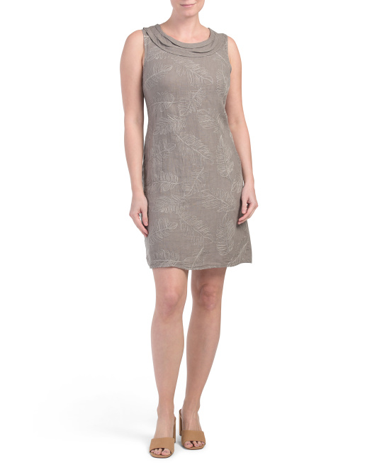 Made In Italy Pleated Cowl Neck Linen Dress