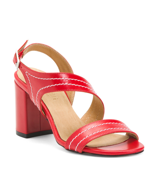 Made In Italy Heeled Leather Sandals