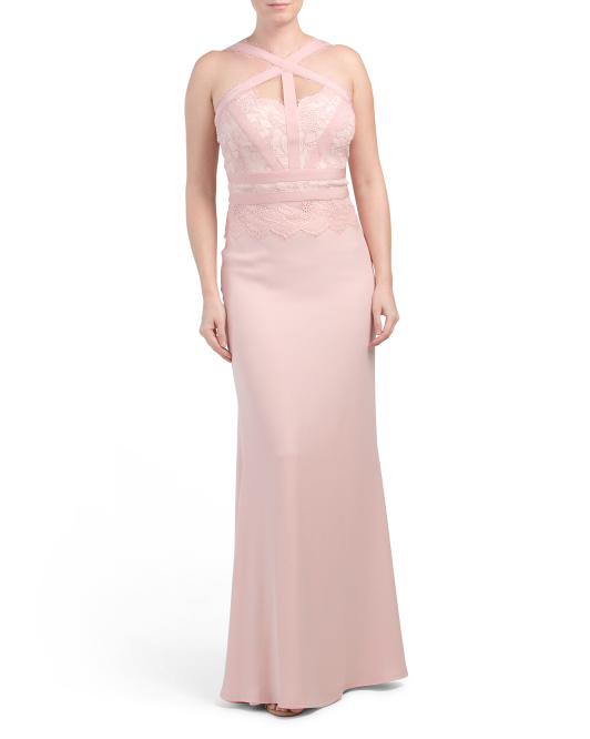 Crepe Cross Neck Gown