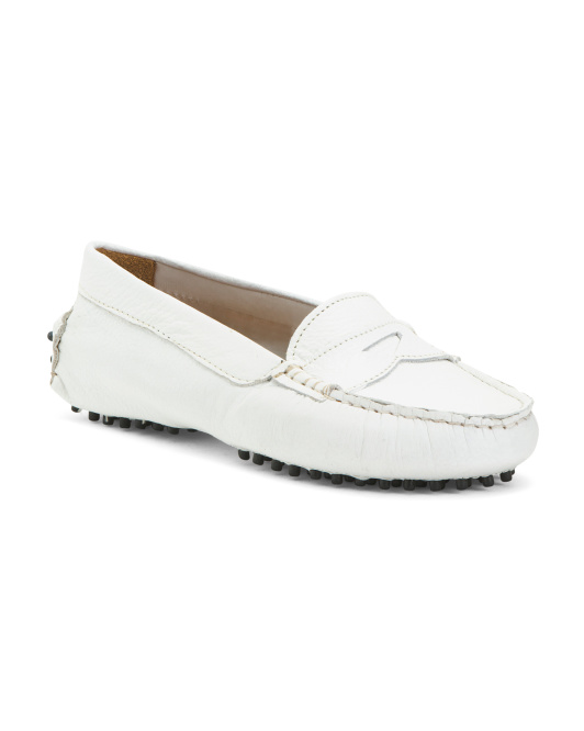 Made In Italy Leather Driver Moccasins