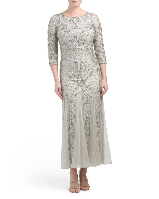 Three-quarter Sleeve Beaded Long Gown