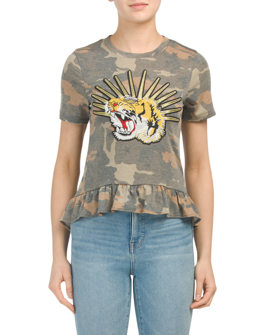 Made In Usa Tiger Patch Camo T-shirt