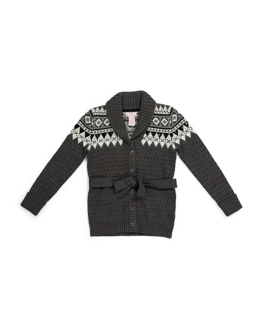 Big Girls Jacquard Duster Sweater