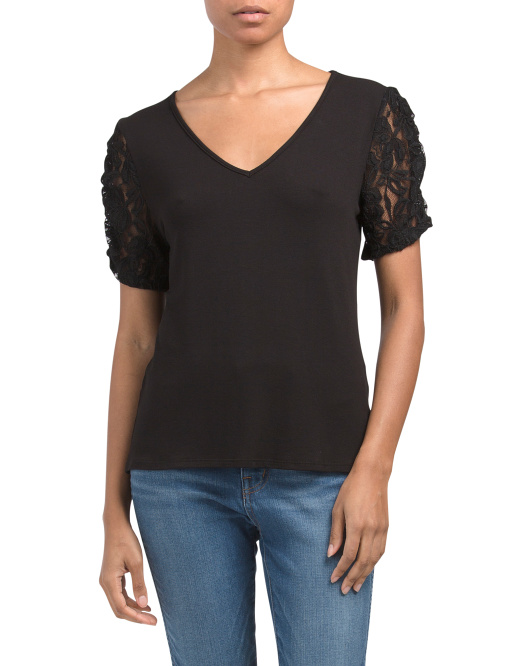 Short Sleeve V Neck Top With Lace Ruched Sleeve
