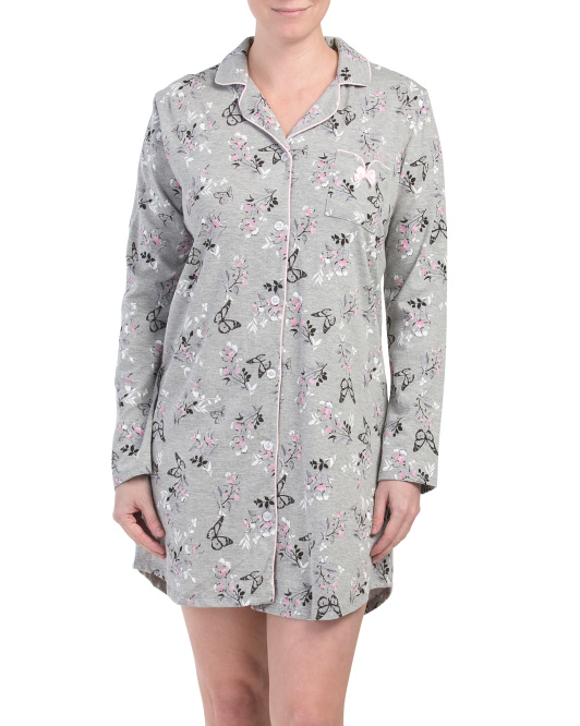 Butterfly Notch Collar Sleep Shirt