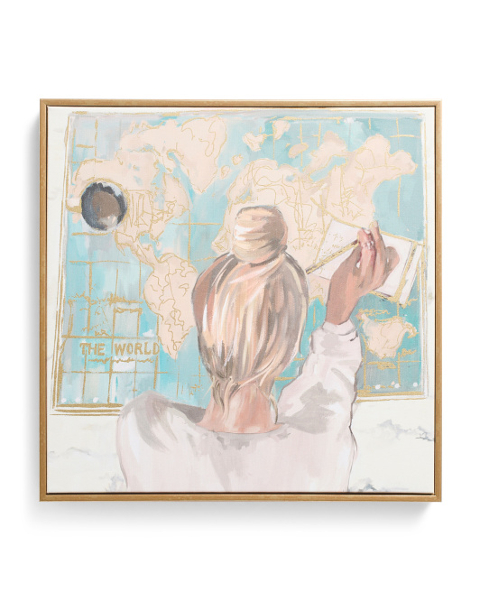 16x16 Wanderlust Girl With Bun Wall Art