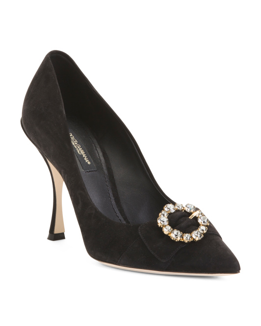 Made In Italy Suede Pumps With Jewel Detail
