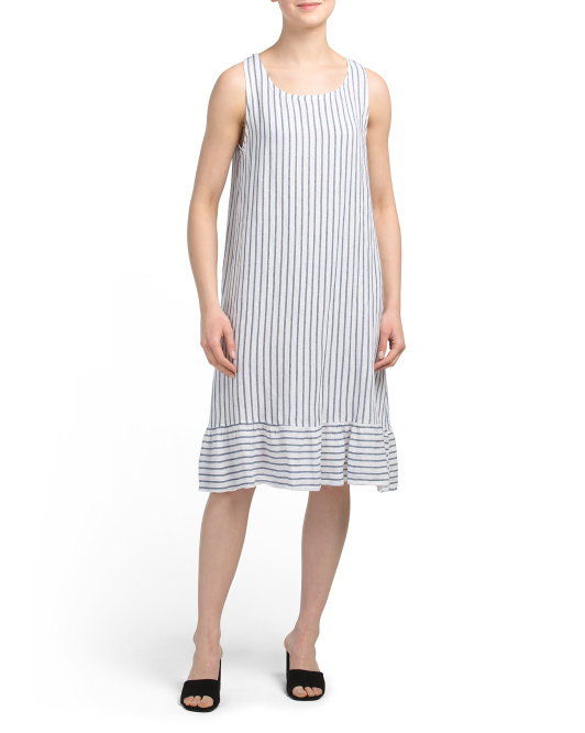 Made In Italy Linen Striped Ruffle Hem Dress
