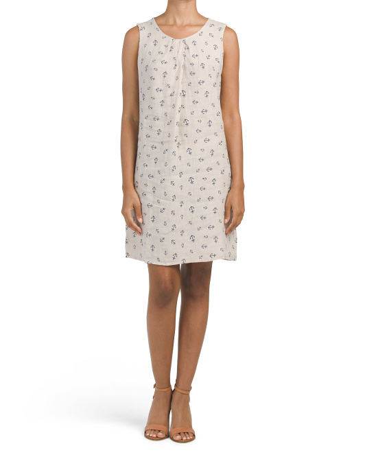 Made In Italy Anchor Print Linen Dress