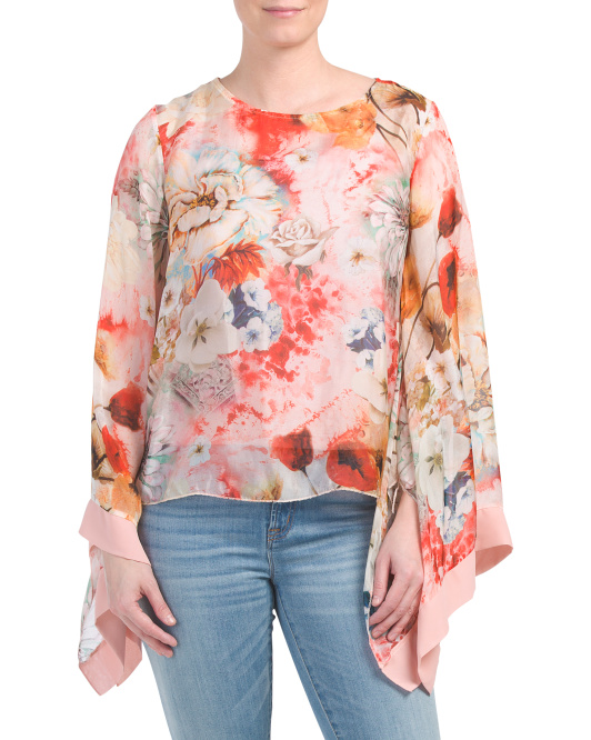 Made In Italy Floral Bat Wing Blouse