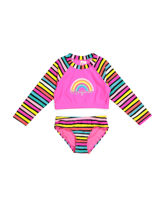Little Girls Rainbow Two-piece Rash Guard Swimsuit