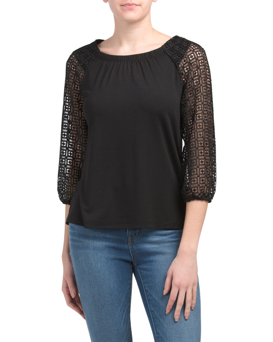 Petite Lace Sleeve Top