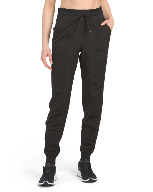 Stretch Woven Ruched Leg Joggers