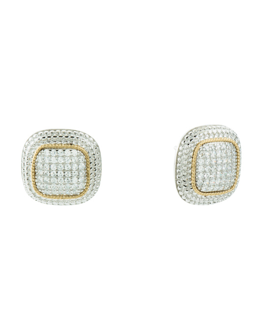14k Gold And Sterling Silver Pave Cz Square Earrings