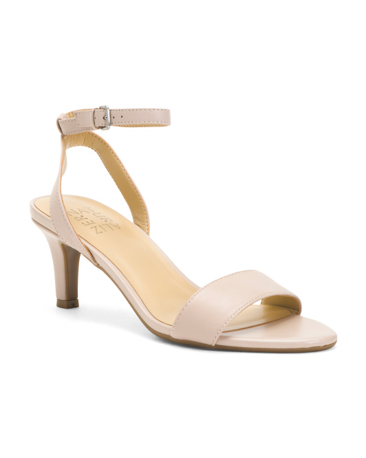 Leather Ankle Strap Comfort Low Heel Sandals