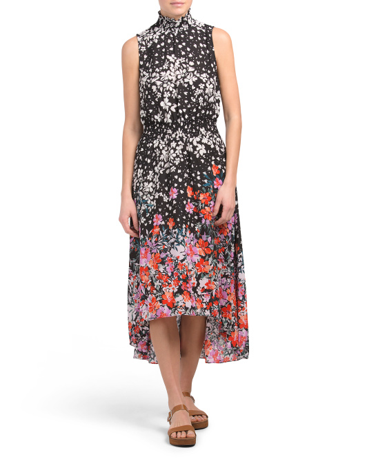 Sleeveless Floral Smocked Midi Dress