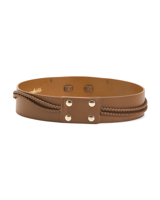 Made In Italy Leather Braided Accent Belt