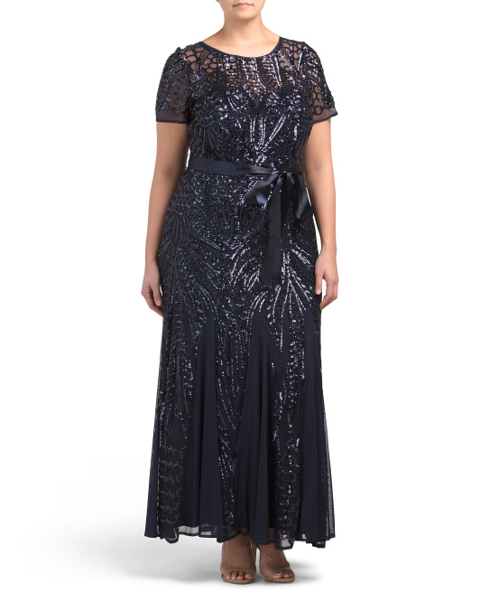 Plus Embroidered Sequins Panel Dress