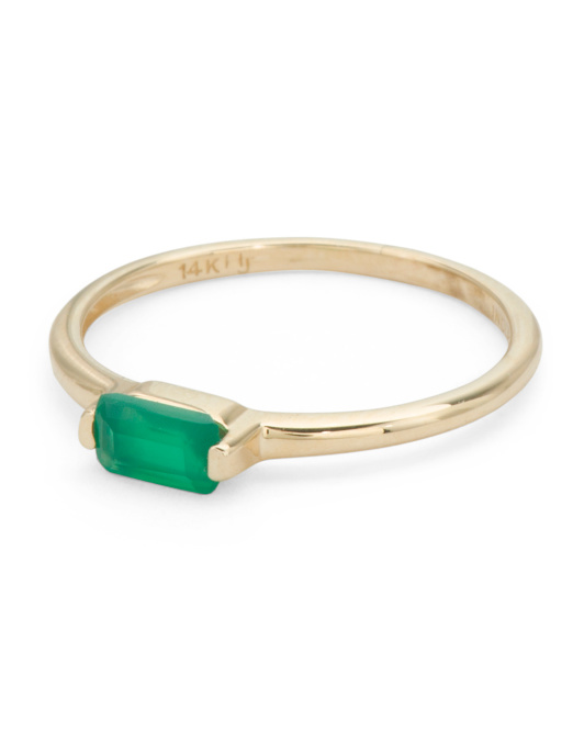 Made In India 14k Gold East West Gemstone Ring