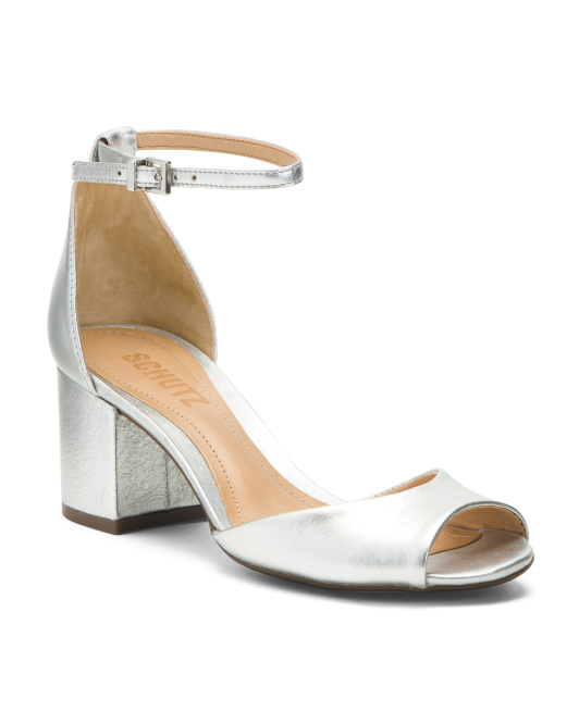 Ankle Strap Heeled Leather Sandals