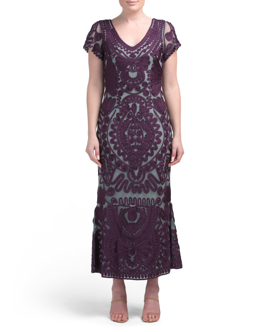 Short Sleeve Soutache Midi Dress With Flounce