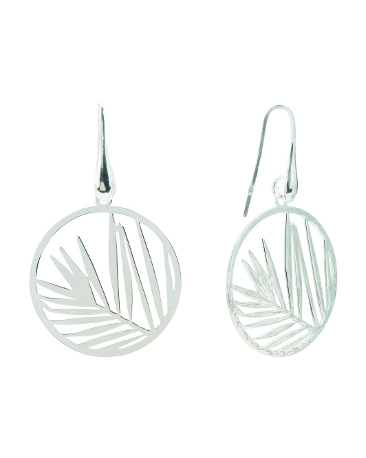 Made In Italy Sterling Silver Palm Leaf Earrings