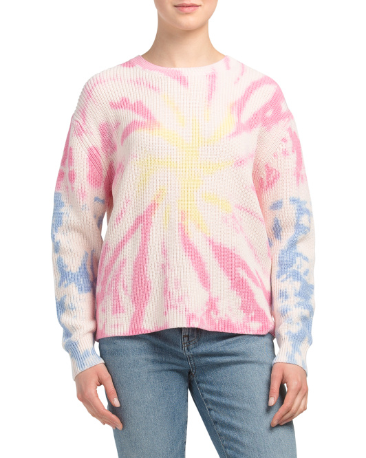 Cotton Shaker Tie Dye Crew Neck Pullover Sweater