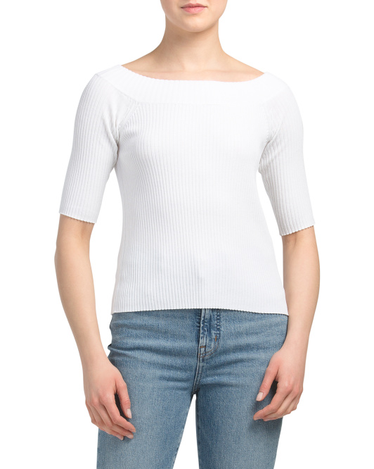 Ribbed Boat Neck Sweater