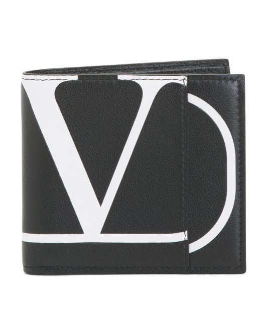 Made In Italy Leather V Logo Wallet
