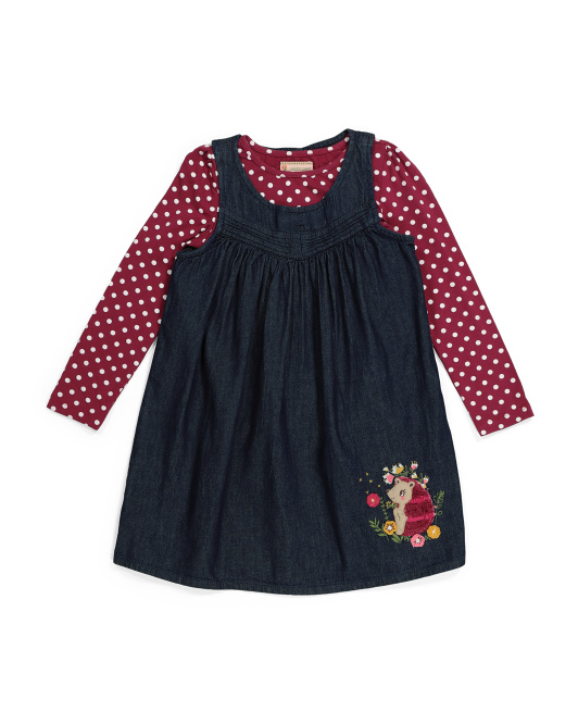 Toddler Girls Hedgehog Dress With Tee