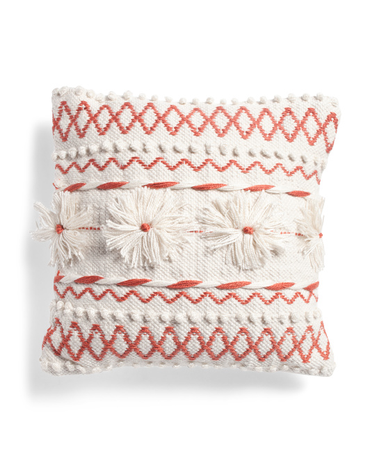 18x18 Indoor Outdoor Embroidered And Textured Pillow