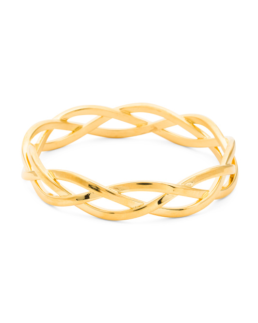 Made In Italy 14k Gold Electroform Braided Bangle Bracelet