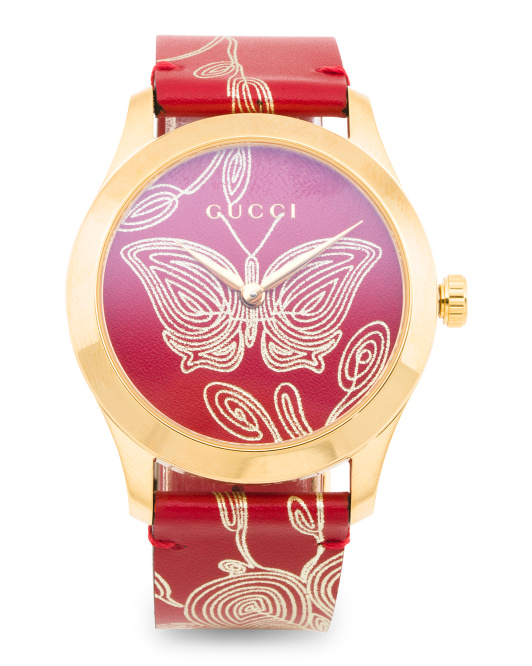 Women's Swiss Made G Timeless Butterfly Leather Strap Watch